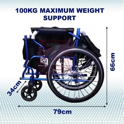 Lightweight Aluminium Wheelchair 11kg(Bath Suitable, Aluminium foot plate, PVC seat)