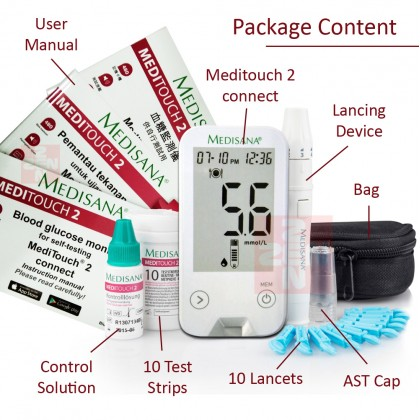 Medisana Meditouch 2 Glucometer FREE 10 Test Strips+100 Lancets+100 Alcohol Swabs
