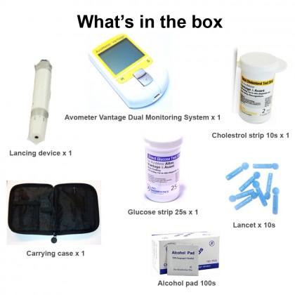 Avometer Vantage Dual Cholesterol & Glucose Monitoring System (free 100 Alcohol pad+ 25 Glucose +2 Cholesterol Strips)