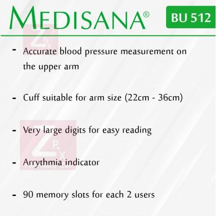 Medisana Blood Pressure Monitor BU510/BU512(MDA Approved)